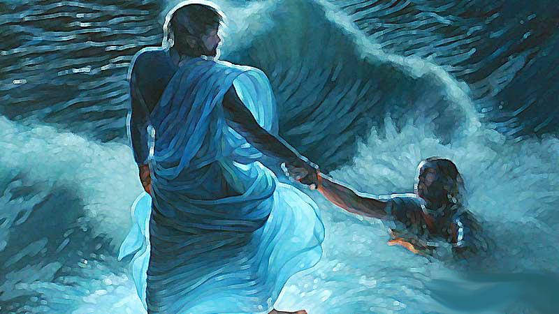 Jesús salvando a Pedro por dudar de su fe